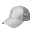 FH068 Half Solid Glitter & Half Mesh Baseball Cap, Grey